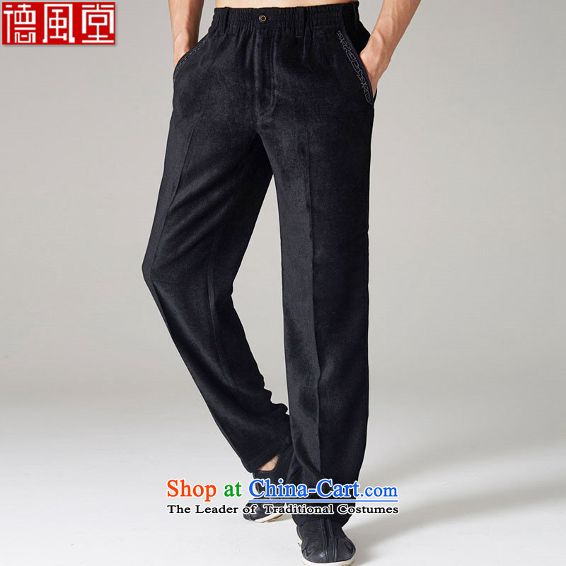 His Excellency de fudo lint-free聽by 2015 Chinese Tang pants autumn and winter upscale embroidery three-dimensional construction TROUSERS-men's trousers, black聽2XL