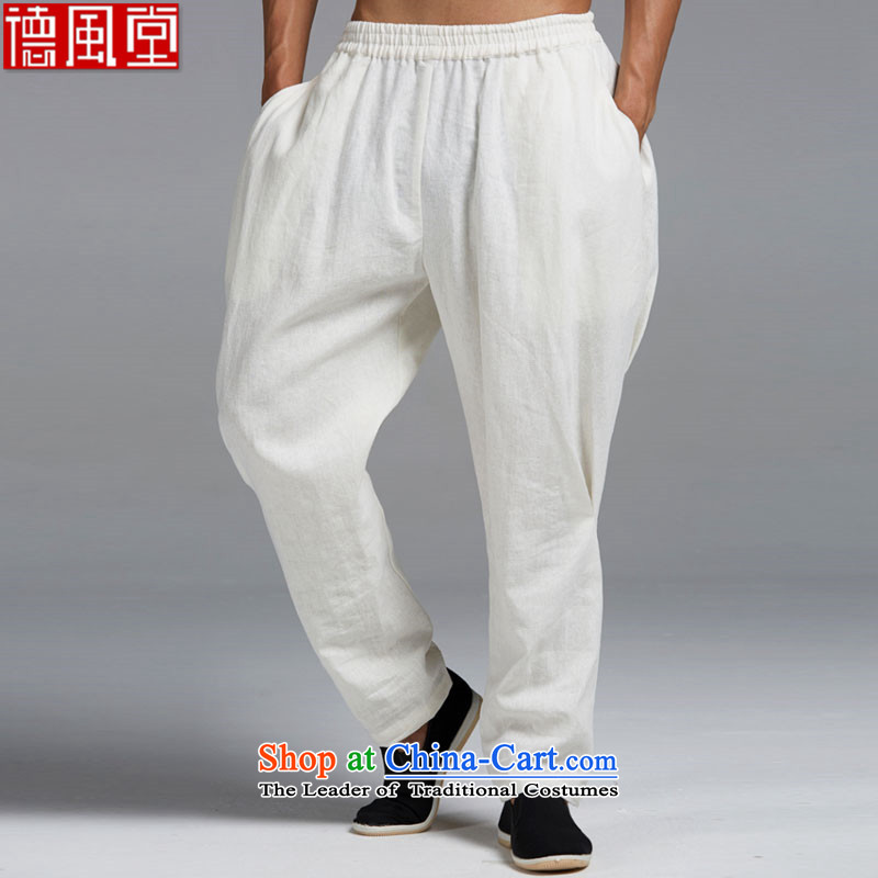 Fudo by cloud de cotton linen spring and summer 2015 men's trousers, Tang Dynasty Chinese elastic waist trousers Harun stylish core Shuai China wind White�XL