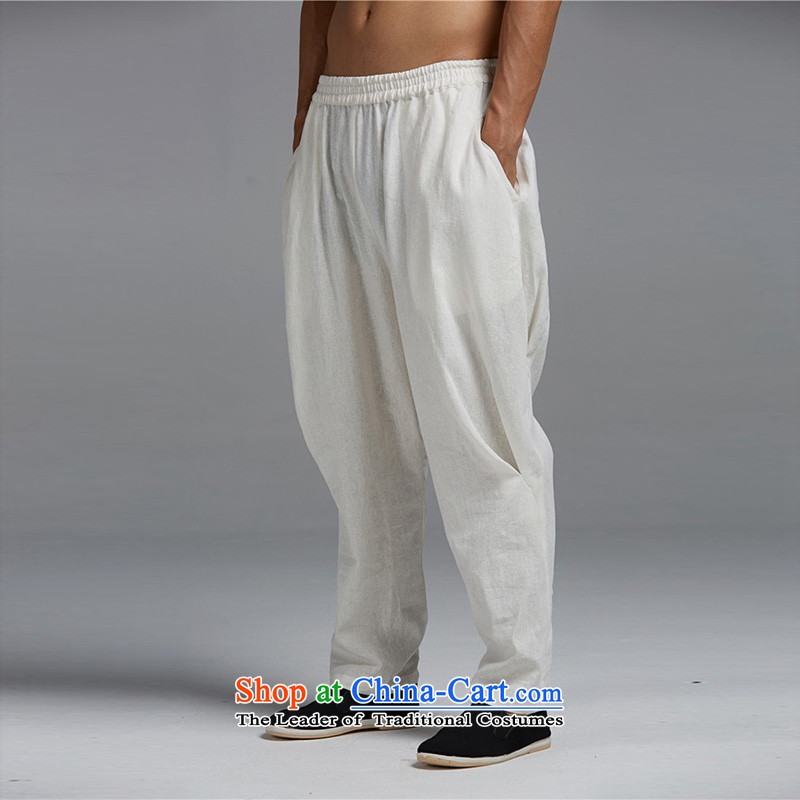 Fudo by cloud de cotton linen spring and summer 2015 men's trousers, Tang Dynasty Chinese elastic waist trousers Harun stylish core Shuai China wind WhiteXL, Tak Fudo shopping on the Internet has been pressed.