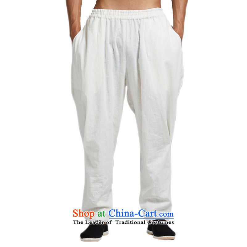 Fudo by cloud de cotton linen spring and summer 2015 men's trousers, Tang Dynasty Chinese elastic waist trousers Harun stylish core Shuai China wind White XL, Tak Fudo shopping on the Internet has been pressed.
