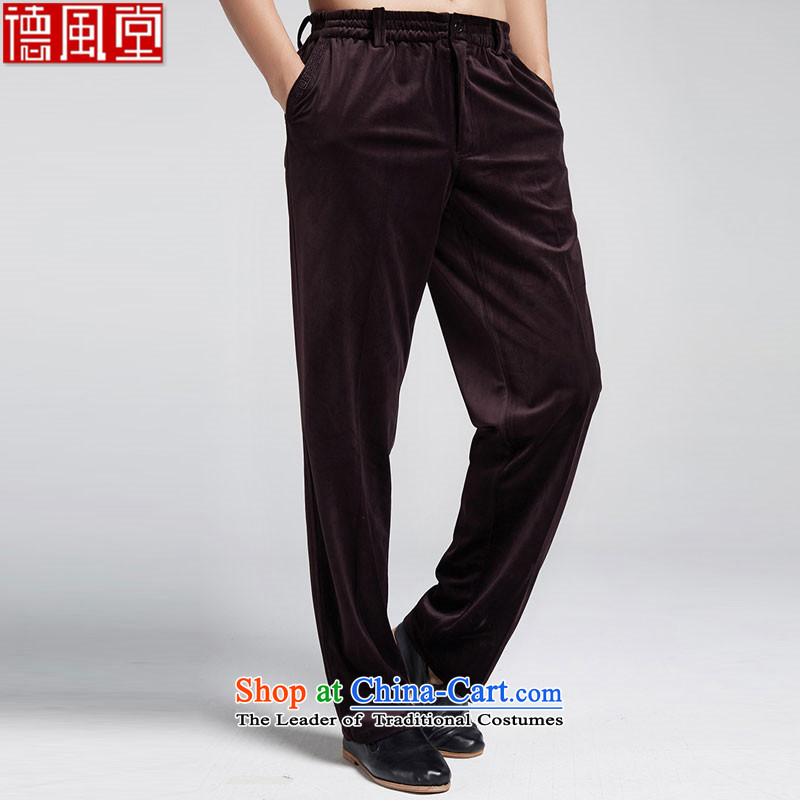 Fudo de passed through clouds� 2015 autumn and winter Chinese men casual pants Tang Kim elastic waist trousers and velvet violet�L