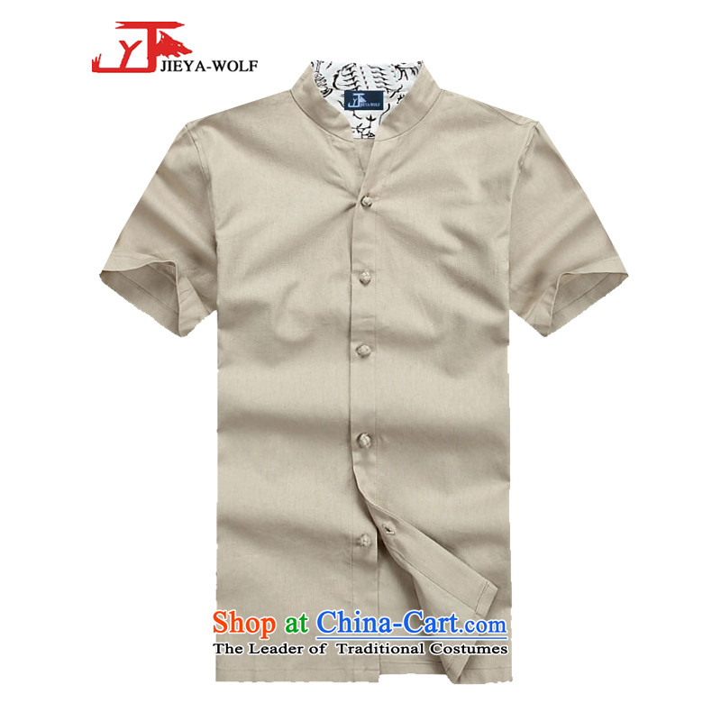 - Wolf JIEYA-WOLF15, Tang dynasty, Short-Sleeve Men's solid color summer cotton linen stylish China wind men stars_ m White�5_S