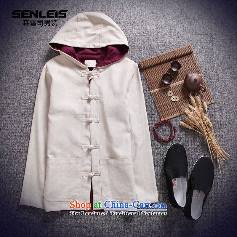 In spring and autumn 2015 men's Chinese Tang Dynasty of Korea disc detained hoodie retro ethnic jacket and pale beige燤
