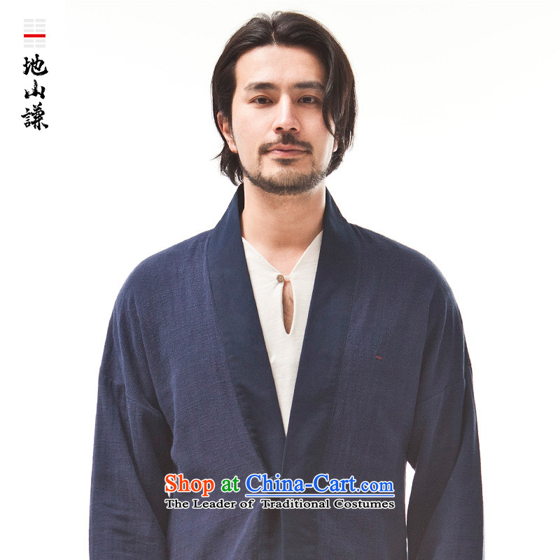 In Shan Abraham China wind innovation-han-Cardigan Chinese Zen shirt men stylish Ethnic Wind Jacket dark blue small (S) Leisure