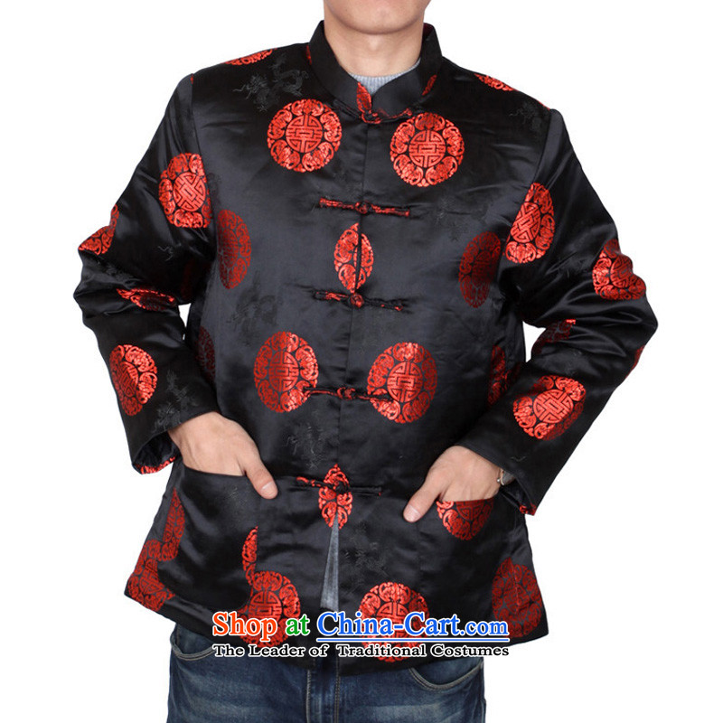 The Cave of the elderly men fall_winter Tang dynasty China wind men attired in Tang jackets older birthday gift clothing father spring 31 black cotton plus 170 yards