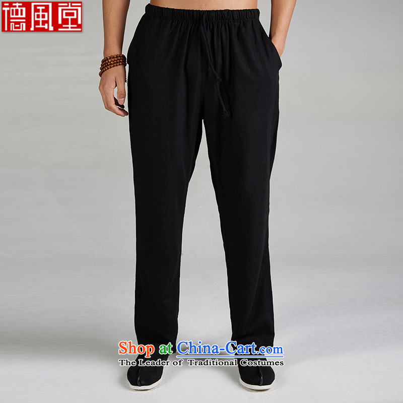 Fudo de-?Tang dynasty linen Summer 2015 men's trousers, pants liberal Chinese pant elastic original China wind men black?XXL