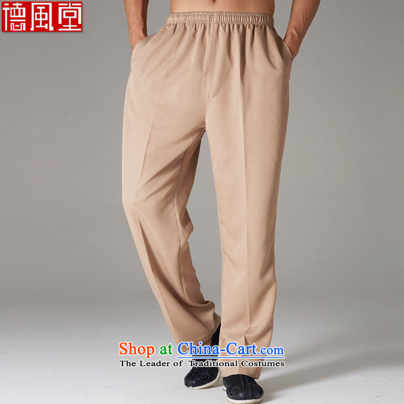Fudo Ching Mr Donald Tsang Tak Summer New Tang dynasty male and trousers boutique Chinese elastic waist solid color men's pants card its M