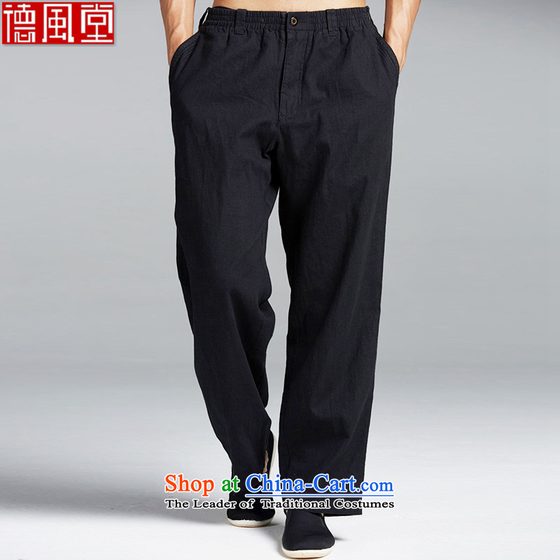 Fudo dominates electricity de cotton linen Tang Dynasty Chinese elastic waist trousers and chic embroidery China wind summer comfortable black聽L