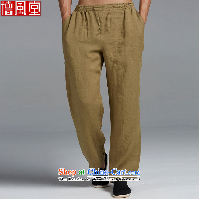 Fudo de Tang Dynasty Carbonized high?2015 men's trousers Chinese elastic casual summer men's trousers, China wind聽XXXL yellow and green