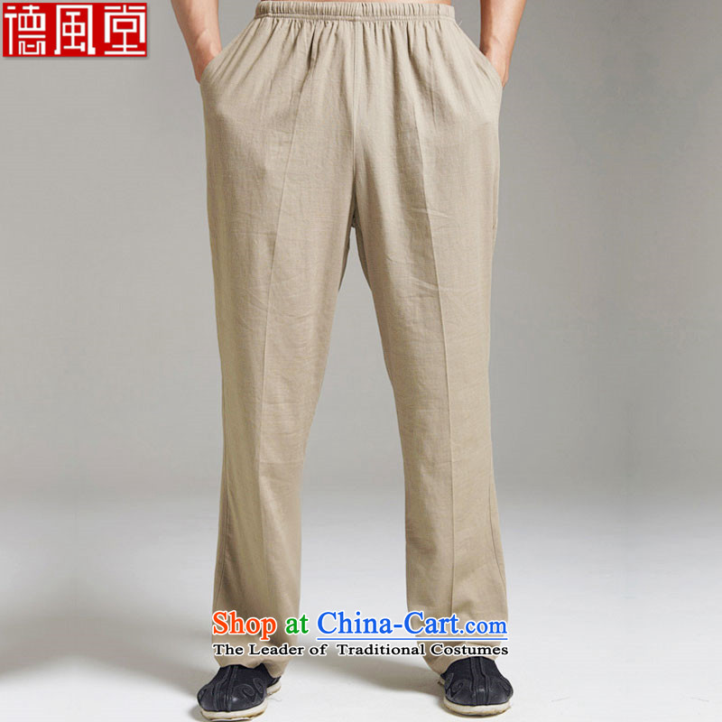 De Fudo Tobita, Master of Winds in cotton linen pants Tang older men light summer 2015) Elastic waist XL China wind the green?L