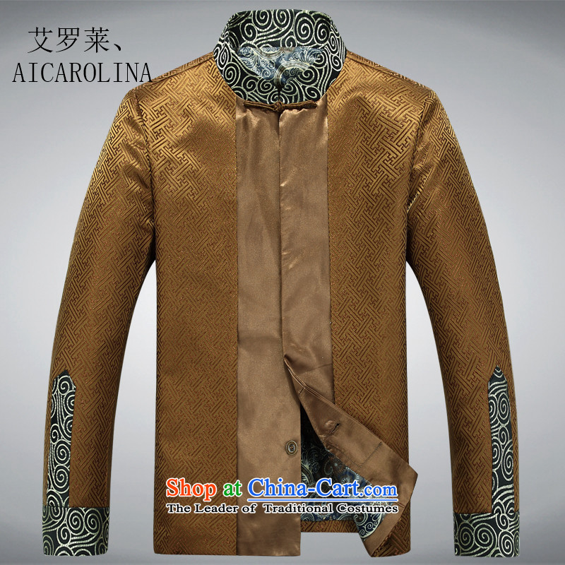 Hiv Rollet Spring New Men long-sleeved shirt, older men fall short in Tang Dynasty and long-sleeved gold燲L