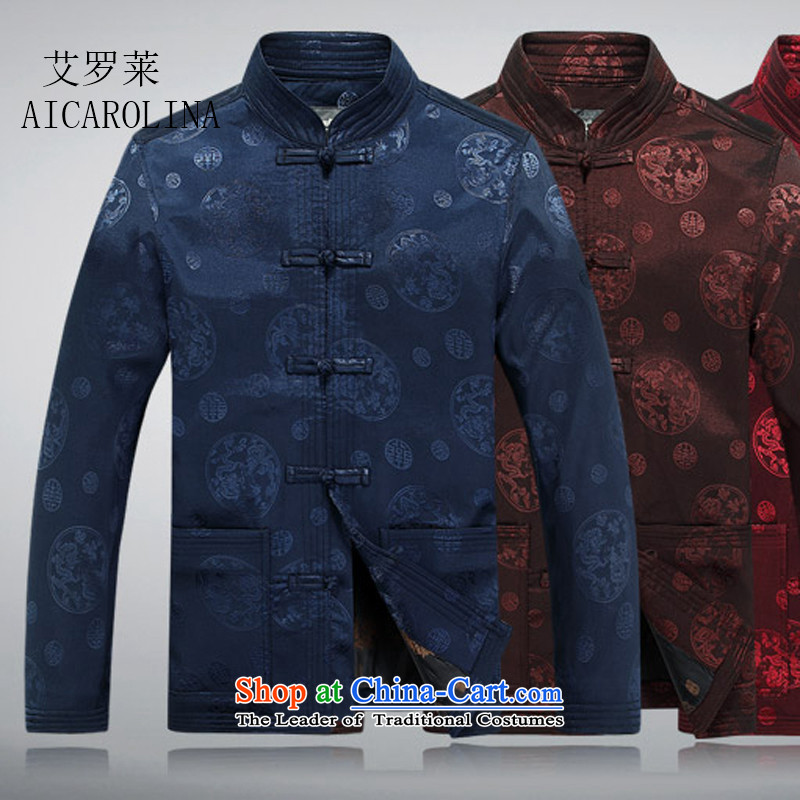 Hiv Rollet Spring China wind collar long-sleeved shirts and autumn and winter coats of elderly Chinese Tang dynasty coffee-colored?L