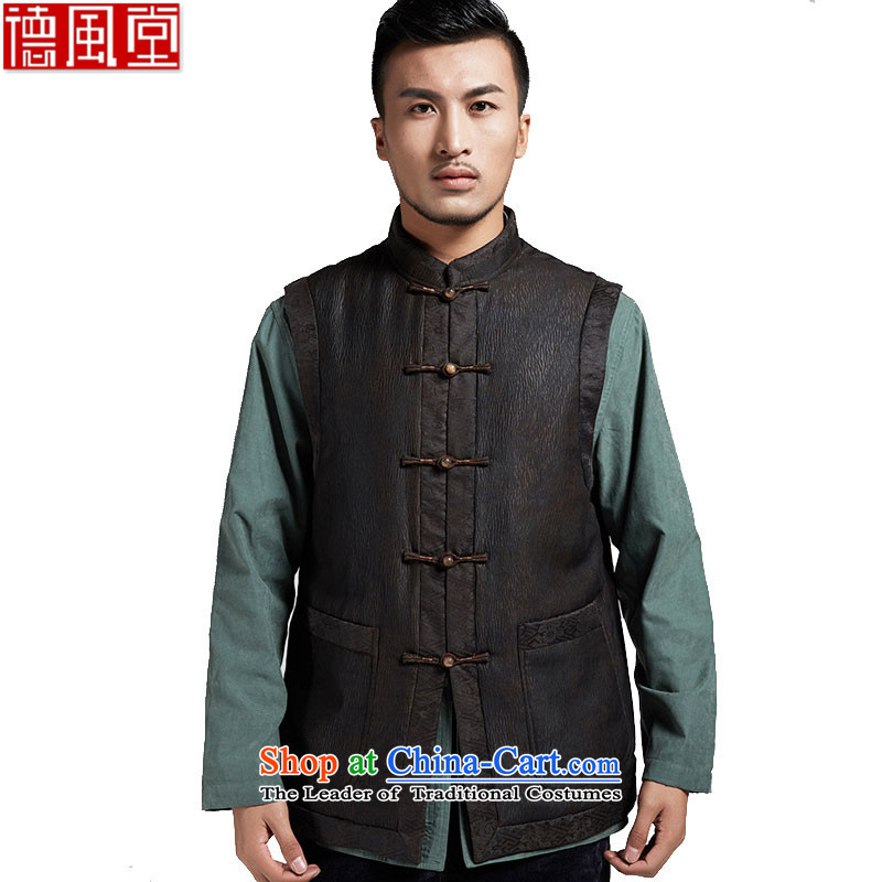 Fudo de Timor Yin Xiang Yun yarn upscale male Tang dynasty improvement, a leisure in Sau San shoulder windproof warm China wind coffee-colored聽XXXL