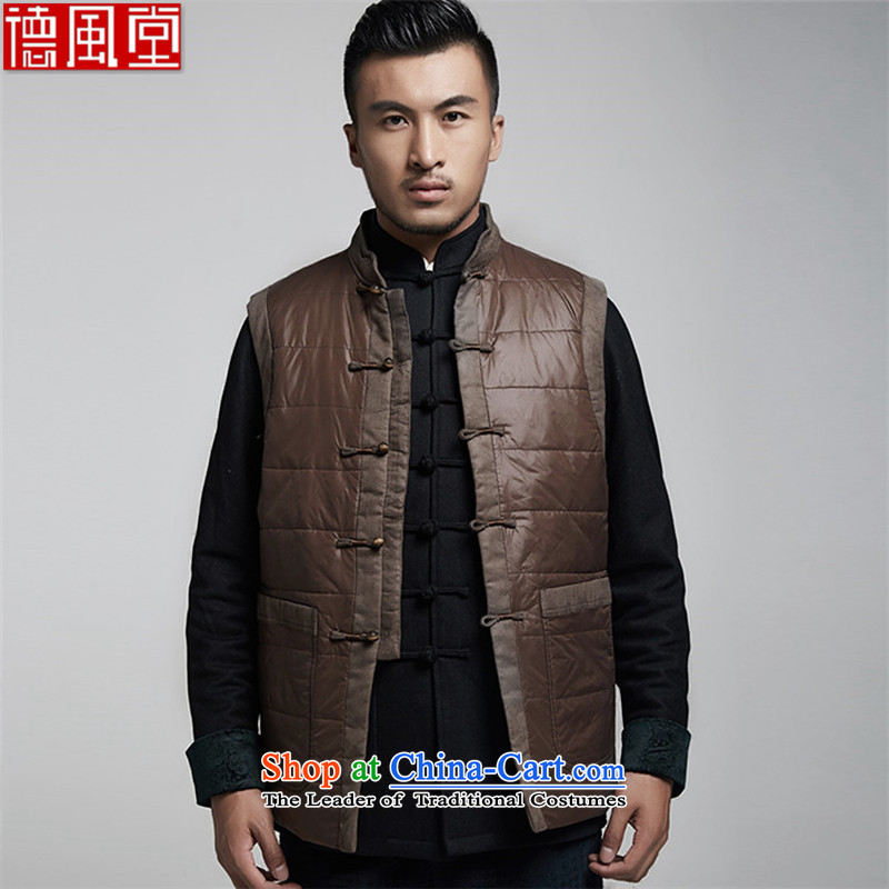 De Fudo Sung-hyun autumn and winter men Tang Gown, a warm jacket thickness of improved style robes Chinese clothing deep coffee?XXXL