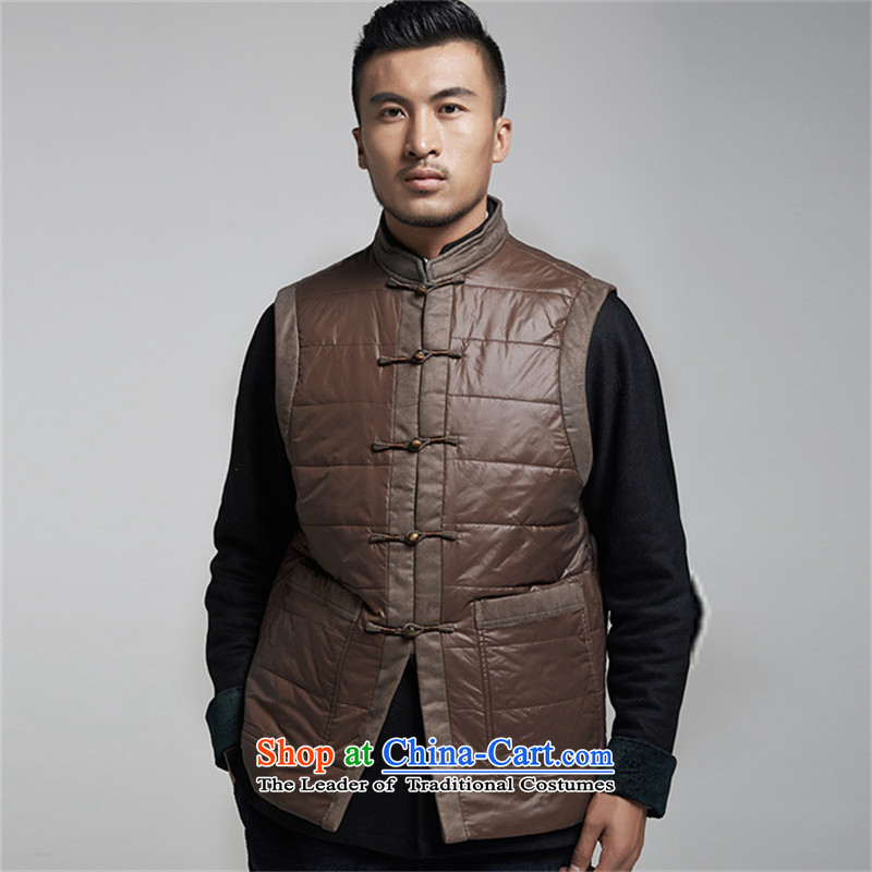 De Fudo Sung-hyun autumn and winter men Tang Gown, a warm jacket thickness of improved style robes Chinese clothing deep coffee聽XXXL, de fudo shopping on the Internet has been pressed.