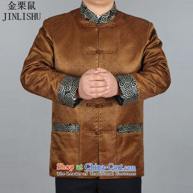 Kanaguri Mouse Tang Dynasty Chinese men's long-sleeved blouses and Tang China Wind Jacket dress gold�L