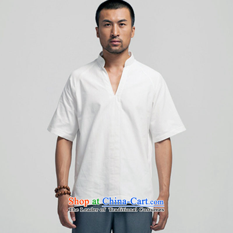 Fudo daughter of de pure cotton muslin Mock-neck Tang dynasty male short-sleeved Chinese pullovers China wind men? 2015 Summer White?M