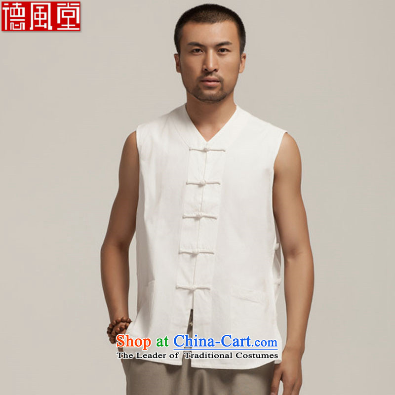 Fudo and hill, Pure cotton T-shirts Tang Dynasty style robes blacklead vests in Chinese shoulder sleeveless Khan Backing China wind men 2015 Summer White XXL