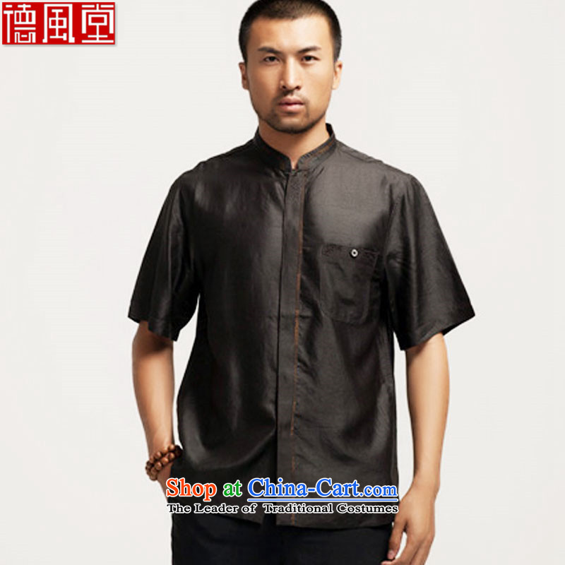 De Fudo toshimasa silk Heung-cloud Tang dynasty yarn summer short-sleeved T-shirt Chinese shirt China wind men black聽M