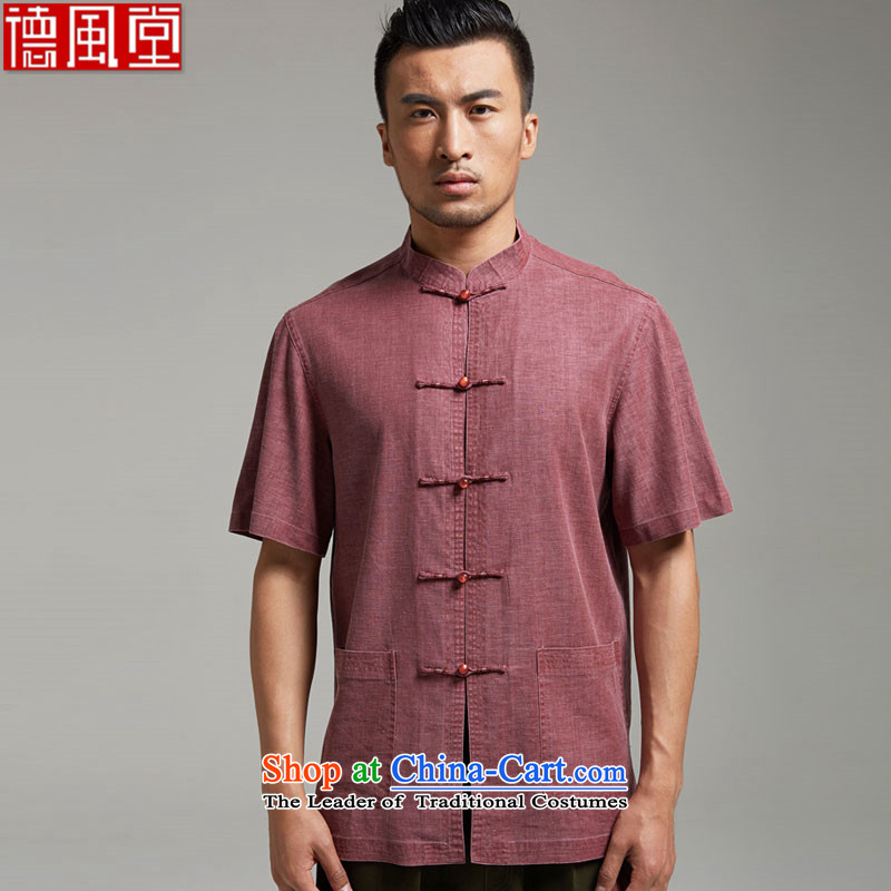 De Fudo dust-middle-aged men Tang blouses cotton linen short-sleeved Summer 2015 new products China wind men?XXXL wine red