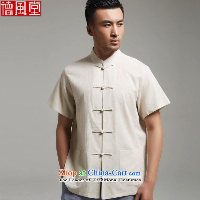 Fudo lonely image,�0_ cotton short-sleeved blouses Tang XL new Chinese men's�15 summer short-sleeved cornhusk yellow燲L