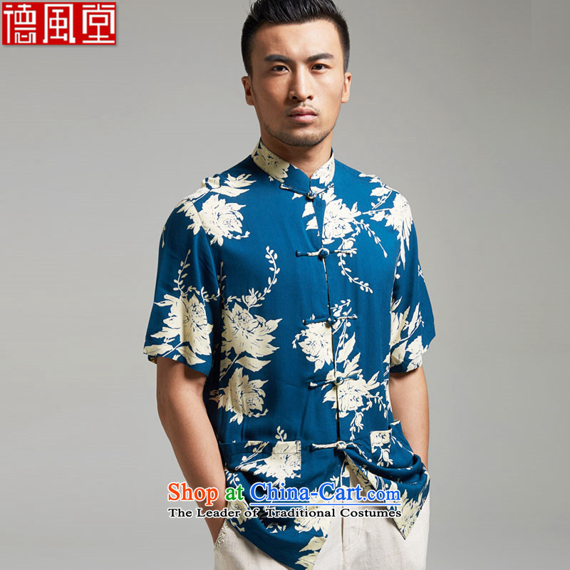 Fudo infected dust, short-sleeved Tang dynasty male and shirts 2015 Summer new large China wind men Chinese clothing lake blue?XL