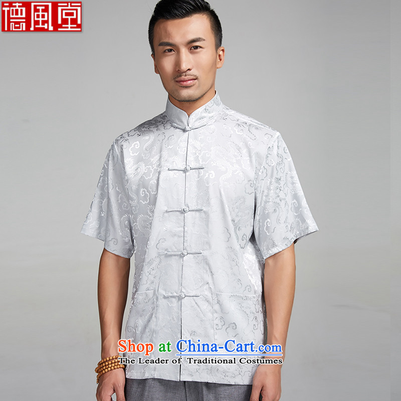 Fudo de Canada embroidered dragon short-sleeved Tang dynasty 2015 new summer of Chinese ethnic men light gray?XXL