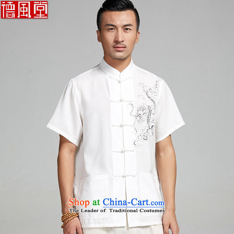 Fudo ink-LUNG TAK cotton linen hand-painted Tang dynasty male short-sleeved shirts in the summer of 2015, the Chinese nation leisure China wind�L_185 White