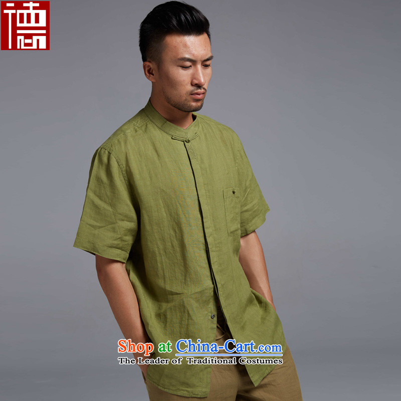 Fudo Beam House de�2015 new linen Chinese short-sleeved shirt with Tang Dynasty summer improved breathability and comfort China wind men dark green�M