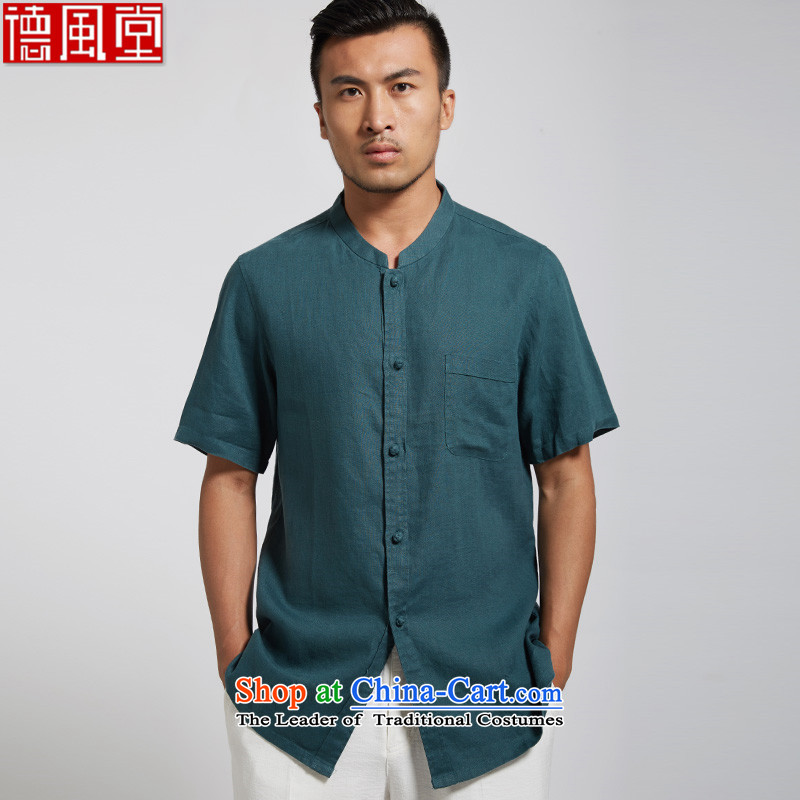 Fudo by world de linen improved Tang dynasty male short-sleeved shirt with Chinese 2015 Summer China wind Sau San, dark green?XL