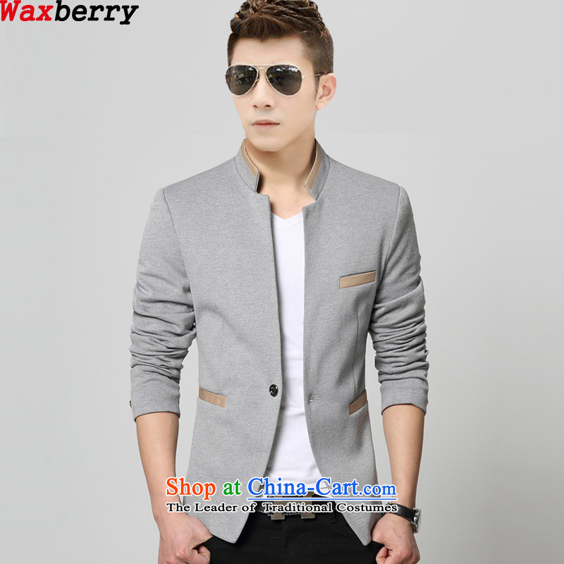 Install the latest Autumn 2015 waxberry Korean men's leisure products collar small single West Chinese tunic suit coats knitting men's will suit gray聽175_XL Sau San