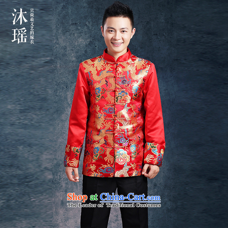 Bathing in the bridegroom Chinese style wedding suit Yao Classics bows services-soo marriage wo men serving Chinese tunic autumn and winter Tang Gown of worship men wear large thick red tailored red燲L燾hest 130CM