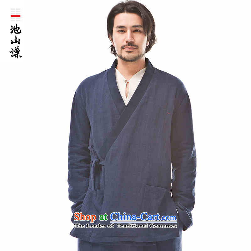 In Shan Abraham China wind new Zen a flap-han-male Cardigan Chinese style and comfort with dark blue shirt spring small (S)