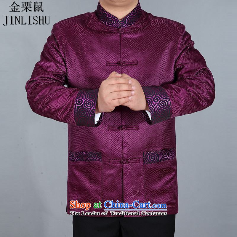 Kanaguri mouse in older men Dad Tang jacket with Chinese shirt China wind load spring and autumn men's older?XXXL Purple