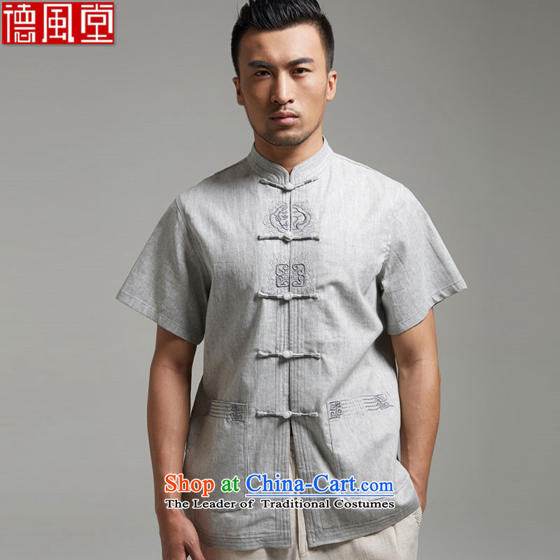 De Fudo Ka Shui Tang dynasty 2015 summer short-sleeved linen Chinese men detained in older leisure disc_ China Wind Light Gray燣