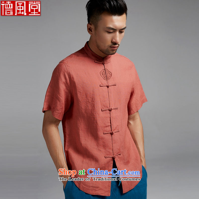 Fudo suspension Lung Tak linen short-sleeved shirt with new disk Tang detained men who are of Chinese China wind�15 Summer Tangerine Orange燤
