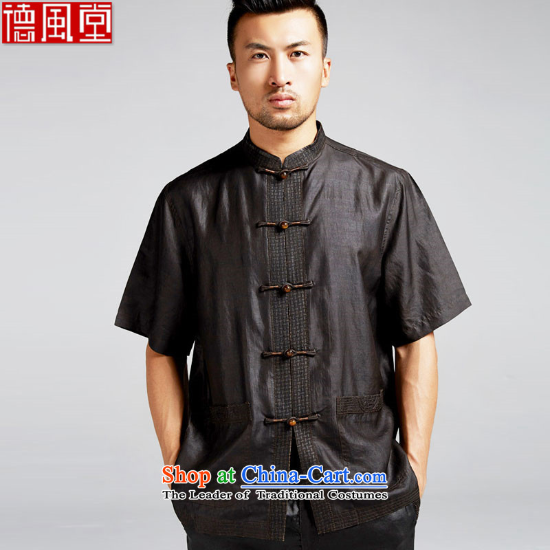 De Fudo lonely silk 2015 Summer men Tang Dynasty Chinese in short-sleeved shirt older men's China wind Black燲L