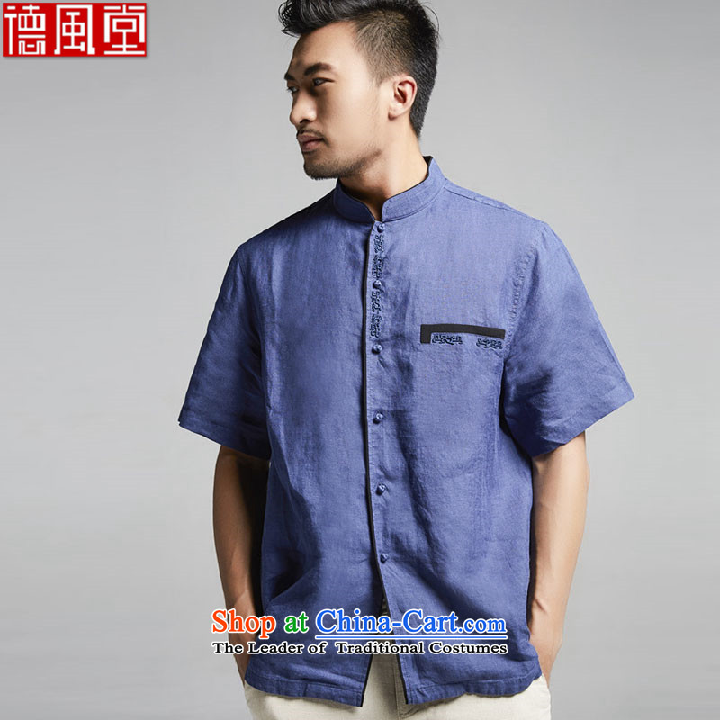 Fudo San-ching Tak linen collar men Tang dynasty 2015 summer short-sleeved China wind Chinese clothing燲XXL Dark Blue