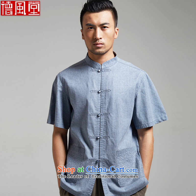 De Fudo Eater of Days燭ang dynasty 2015 men's summer short-sleeved Chinese elderly in the improvement of Han-China wind men light blue燤