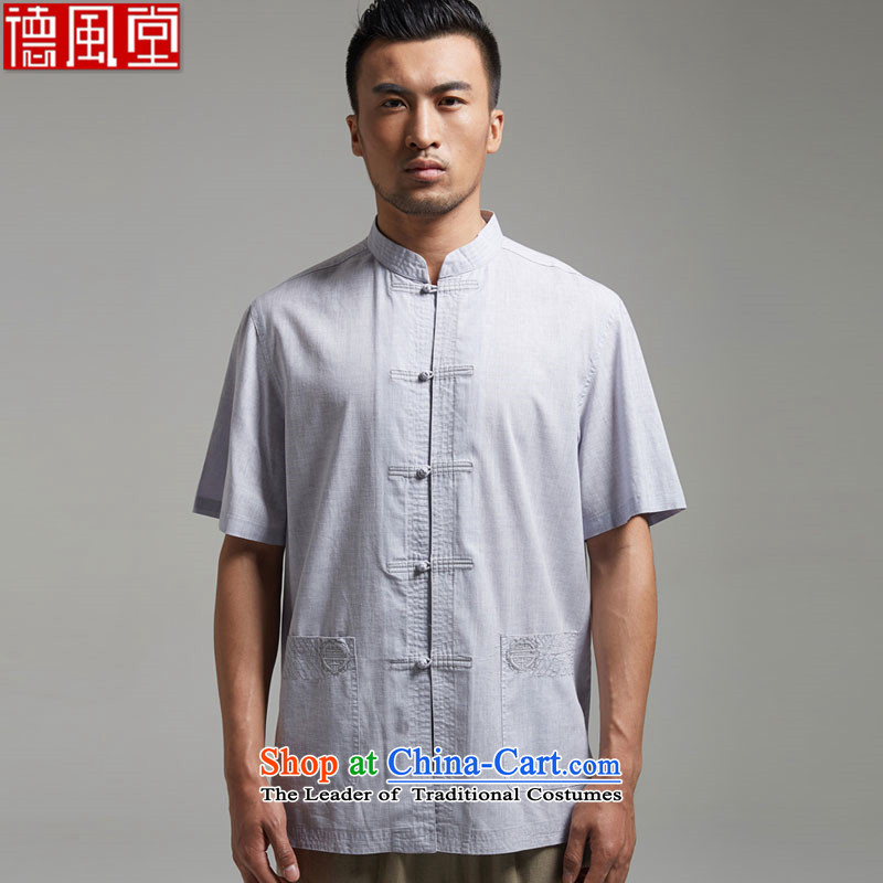 Fudo Xiao Chu Tak cotton linen collar Chinese short-sleeved men Tang dynasty 2015 Summer New China wind men light gray M