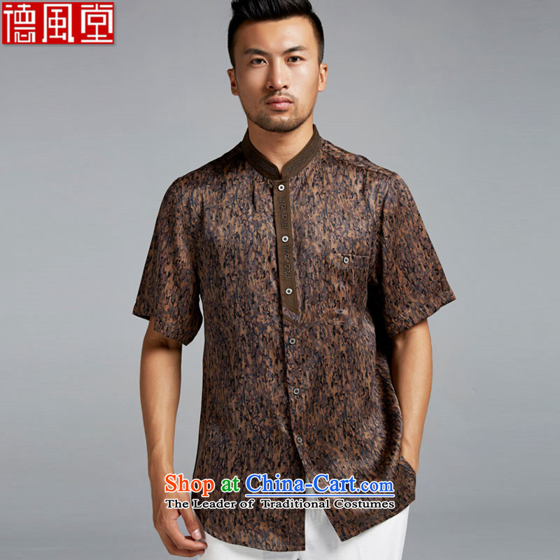 Fudo de drunken Chu聽2015 Summer Chinese 100_ silk anti-wrinkle short-sleeved Tang dynasty male new leisure boutique China wind suit聽XL