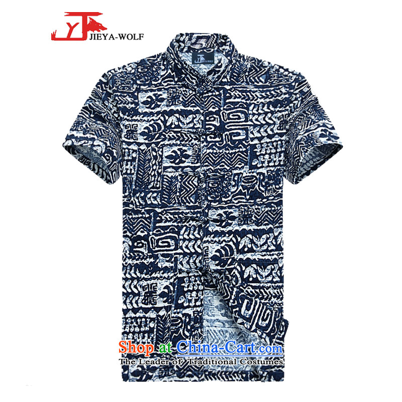 - Wolf JIEYA-WOLF, New Tang dynasty men's shirts in summer short-sleeved cotton linen is simple and stylish summer porcelain, men?180/XL blue