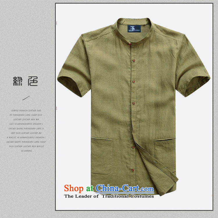 - Wolf JIEYA-WOLF, Tang dynasty men's short-sleeved linen summer pure color simple blouse neck shirt, small men loaded, Kane mine yellow earth聽170/M picture, prices, brand platters! The elections are supplied in the national character of distribution, so action, buy now enjoy more preferential! As soon as possible.