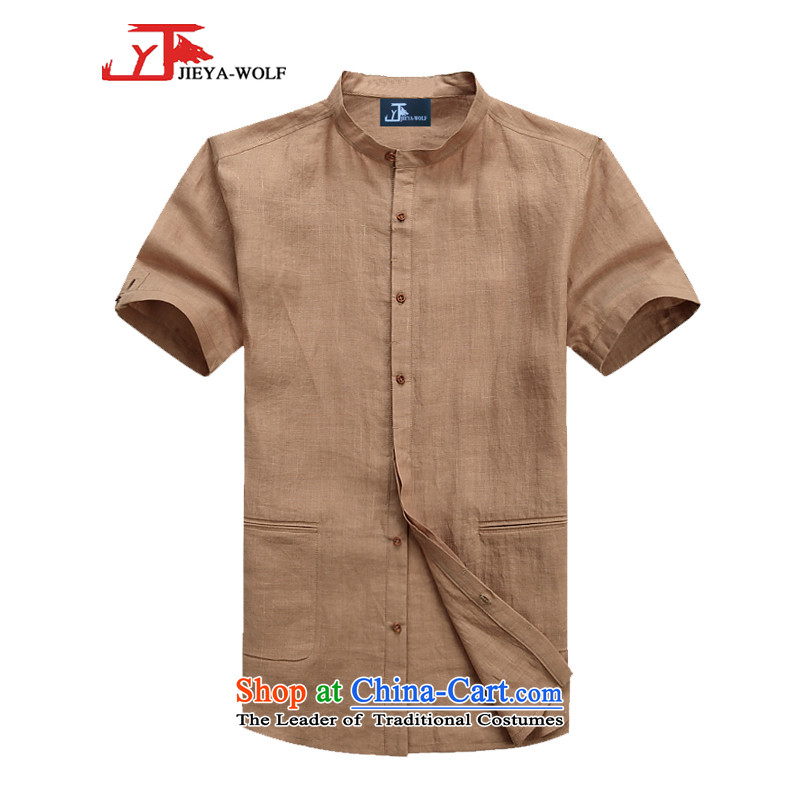 - Wolf JIEYA-WOLF, Tang dynasty men's short-sleeved linen summer pure color simple blouse neck shirt, small men loaded, Kane mine yellow earth?170/M