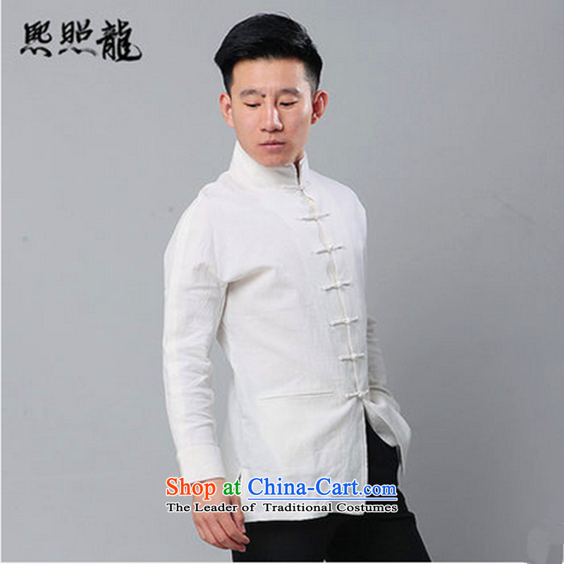 Hee-yong new double snapshot high collar long-sleeved shirt Tang dynasty men's jackets cotton linen Tang dynasty China wind White聽XL