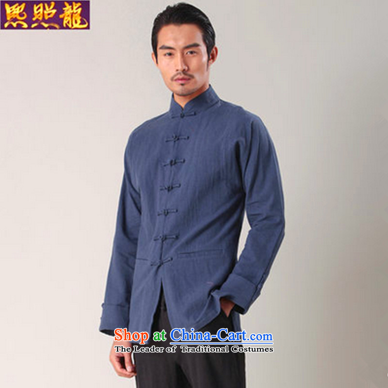 Hee-snapshot lung men wear long-sleeved shirt Tang dynasty China wind shirt cotton linen collar stylish shirt Han-men and Tang dynasty blue?S