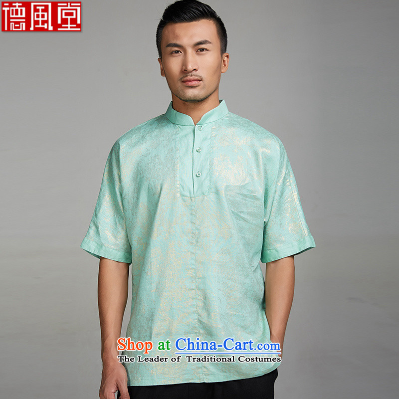 De Fudo Golden Lustre 2015 sprinkler Kim linen even shoulder Tang dynasty men T-shirt Chinese summer pullovers short-sleeved China wind men Chinese clothing light green M