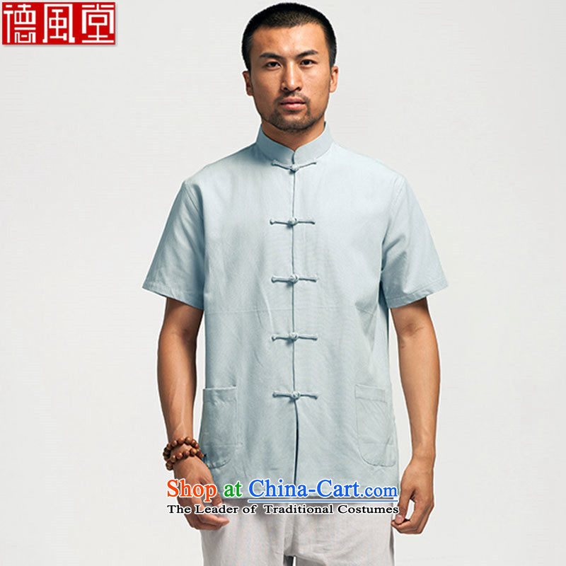 Fudo of de cotton�15 Cotton short-sleeved Chinese shirt blacklead male summer Tang dynasty China wind-men-gray燤