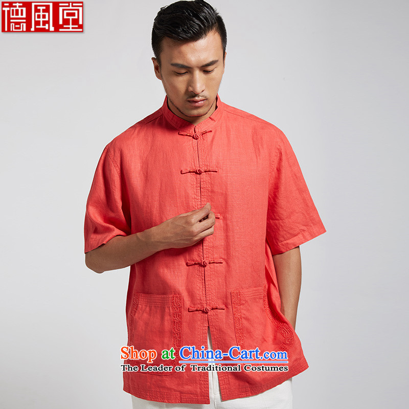 De Fudo upwind�2015 men's replace embroidery linen Tang Dynasty Chinese short-sleeved shirt of ethnic Chinese clothing�XXXL Red Light