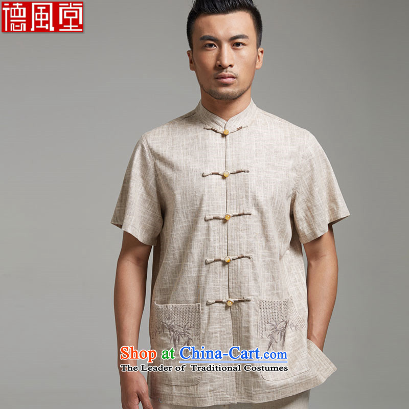 De Fudo Kwun bamboo?2015 new summer, a?100% linen embroidered bamboo Tang Dynasty Short-Sleeve Men of ethnic men in his shirt-sleeves?XXXL Asaki